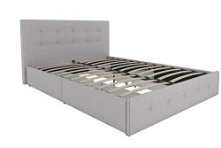DHP Rose Upholstered Platform Bed with Under Bed Storage and Wooden Slats, Button Tufted Headboa ...