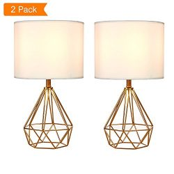 SOTTAE Golden Hollowed Out Base Modern Lamp Bedroom Livingroom Beside Table Lamp, 16″ Desk ...