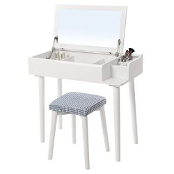 SONGMICS Vanity Makeup Table Set with Flip Top Mirror Cushioned Stool Makeup Dressing Table with ...