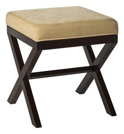 Hillsdale 50964 Morgan Vanity Stool, Espresso with Stone Fabric