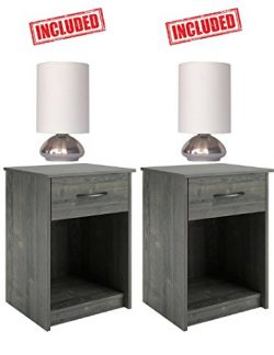 Set of 2 Nightstand End Tables Pair Bedroom Table Furniture in Rodeo Oak Finish With 2 Pack Brus ...