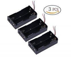 Mini Skater 2 Slot 2×3.7V Spring Clip Black Plastic 18650 Battery Holder Case Box Storage Organi ...