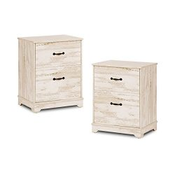 2 Drawer Wood Chest, Works as Dresser & Storage Cabinet for Home & Office (White Oak- 2  ...