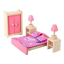 DierCosy Doll House Bedroom Furniture Set Bed + Table + Lamp + Closet—Rancom Blanket