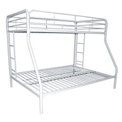 BestMassage Twin/Full Metal Bunk Bed,Durable Steel Frame Bunk Bed with ladder