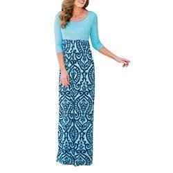 Women Dress,IEason Hot Sale! Womens Striped Long Boho Dress Lady Beach Summer Sundrss Maxi Dress ...