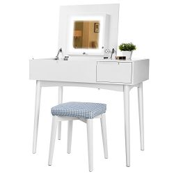 SONGMICS Vanity Table Set with Dimmable LED Lights and Flip Top Mirror Makeup Dressing Table wit ...