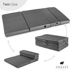 Twin Folding Mattress – 4″ Thick x 75″ x 39″ – Trifold Foam Mat with Car ...