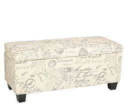 Cortesi Home Fitzgerald Script Fabric Storage Ottoman Long Bench