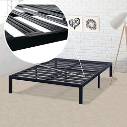 Best Price Mattress Model E Heavy Duty Steel Slat Platform Bed Frame, Box Spring Replacement Fou ...