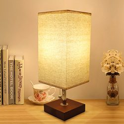 Bedside Table Lamp, Aooshine Modern Desk Lamp, Solid Wood Nightstand Lamp with Unique Shade and  ...