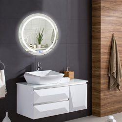 TANGKULA Led Mirror 20″ Round Wall Mount Circle Bathroom Bedroom Toilet Illuminated Vanity ...