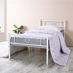 Twin Bed Frame, Yanni LESILE Easy Set-up Premium Metal Platform Mattress Foundation / Box Spring ...