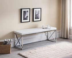 White Bonded Leather / Chrome Metal Frame X-Design Entryway Bedroom Bench