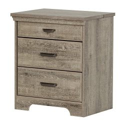 South Shore Versa Nightstand with Charging Station and Drawers, Weathered Oak