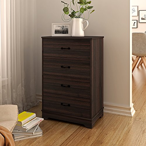 4 Drawer Wood Chest, Works as Dresser & Storage Cabinet for Home & Office (Dark Oak)