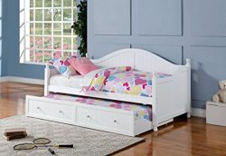 Coaster Daybeds Collection 300053 Twin Size Daybed with Roll-Out Trundle Crystal Knobs Arched Ca ...