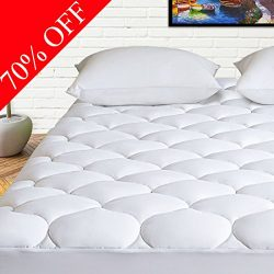 HARNY Mattress Pad Cover Queen Size Cooling Mattress Topper 400TC Cotton Top Quilted Pillowtop w ...