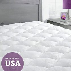Bamboo Mattress Pad with Fitted Skirt – Extra Plush Cooling Topper – Hypoallergenic  ...