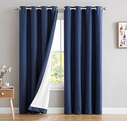HLC.ME Textured 100% Blackout Room Darkening Thermal Lined Curtain Grommet Panels For Bedroom &# ...