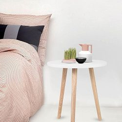 Pagacat Small Tripod Round Accent Side Table, White Wood Coffee Table, Circle End Nightstand Table