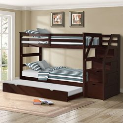 Harper&Bright Designs Twin-over-Twin Trundle Bunk Bed with 4 Storage Drwers (Espresso)
