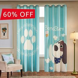 Fassbel 2 Panel Set Digital Printed Cartoon Picture Window Curtains for Bedroom Living Room Chil ...
