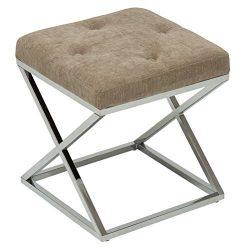 YongQiang Vanity Benches Ottoman Bench for Bedroom Metal Base Footrest Stool Upholstered Fabric  ...