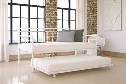 Modern Wallace Daybed with Trundle Combo, Twin Metal Bed Frame, Strong Sturdy Slats Support Memo ...