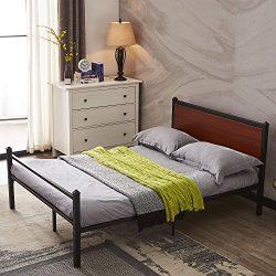 GreenForest Platform Bed Heavy Duty Metal Bed Frame with Wooden Headboard Mattress Foundation No ...