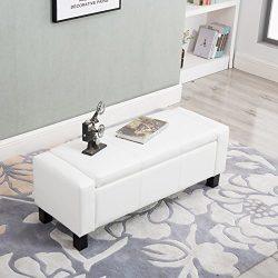 Ottoman Storage Bench Rectangular with PU Leather Foam Seat, White