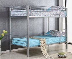 Merax Twin Size Metal Bed Frame Twin Over Twin Bunk Bed Twin Size Mattress Foundation (Silver)