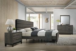 Roundhill Furniture Ioana 187 Antique Grey Finish Wood Bed Room Set, Queen Size Bed, Dresser, Mi ...