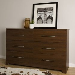 South Shore Primo 6-Drawer Double Dresser, Brown Walnut