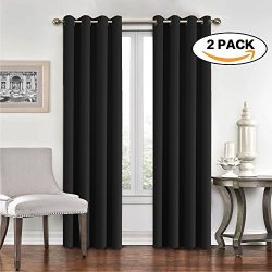Blackout Curtains 2 Panels Set Room Darkening Drapes Thermal Insulated Solid Grommets Window Tre ...