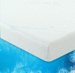 LuxLiving 2.5 Inch COOLING GEL Infused Memory Foam Mattress Topper with Removable & Washable ...