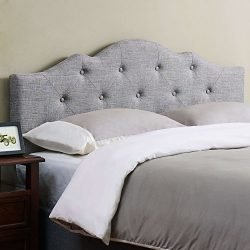 Mainstays Upholstered Tufted Rounded Headboard, Full/Queen, Grey