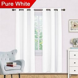 NICETOWN White Room Darkening Curtain Set, Modern Design Solid Grommet Draperies/Drapes for Livi ...