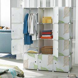 Tespo Portable Clothes Closet Wardrobe Bedroom Armoire Freestanding Storage Organizer, Modular C ...