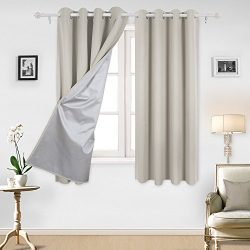 Deconovo Curtains Grommet Top Blackout Curtains Window Treatment Set with Silver Coating for Bed ...