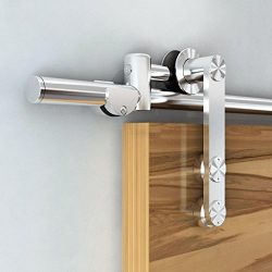 6 foot Stainless Steel Sliding Barn Door Hardware Track Set, Brushed Surface,Modern European Int ...