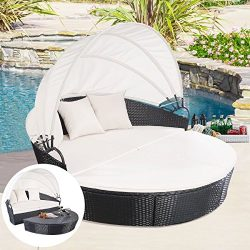 TANGKULA Patio Furniture Outdoor Lawn Backyard Poolside Garden Round with Retractable Canopy Wic ...