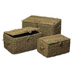 Whole House Worlds The Made By Nature Seagrass Trunks, Set of 3, Storage and Blanket Chests, Var ...
