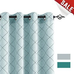 jinchan Jacquard Curtains for Bedroom Lattice Window Treatment Set for Living Room Geometry inch ...
