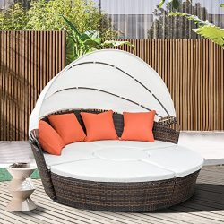 Leisure Zone Outdoor Patio Backyard Poolside Furniture Wicker Rattan Round Daybed with Retractab ...