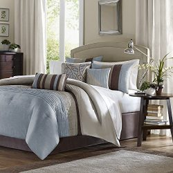 Madison Park Amherst King Size Bed Comforter Set Bed In A Bag – Blue, Taupe, Pieced Stripe ...