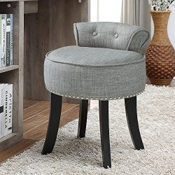 Inspired Home Taylor Grey Linen Vanity Stool – Nailhead Trim | Roll Back|Button Tufted|Bedroom