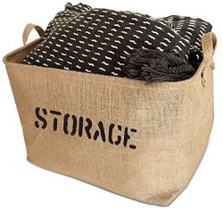 OrganizerLogic Storage Bins – 17 x 13 x 10″ Bin – Large Jute Storage Baskets & ...