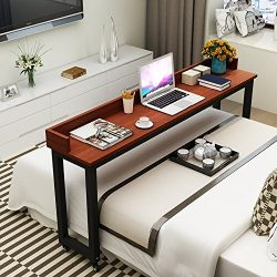 Overbed Table with Wheels, Tribesigns Mobile Desk with Heavy-Duty Metal Legs, Super Sturdy and S ...