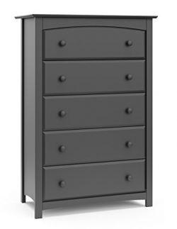Storkcraft Kenton 5 Drawer Universal Dresser, Gray, Kids Bedroom Dresser with 5 Drawers, Wood an ...